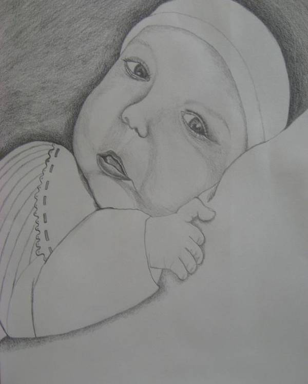Baby Poster featuring the drawing Baby Girl by Theodora Dimitrijevic