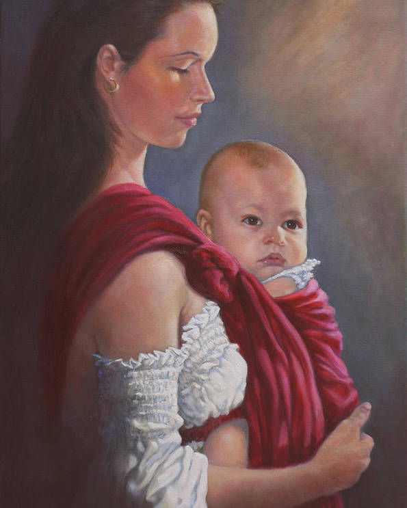 Mother And Child Poster featuring the painting Baby In Rebozo by Harvie Brown