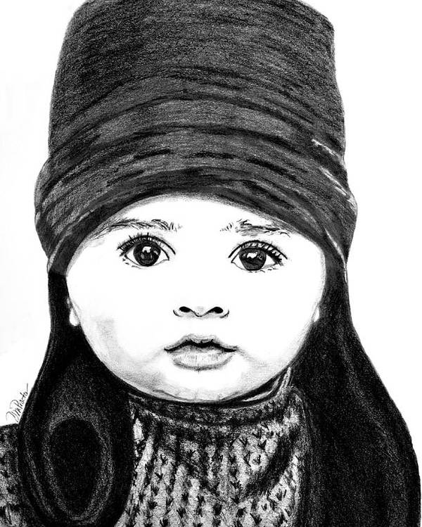 Portrait Poster featuring the drawing Baby Its Cold Outside by Donna Proctor