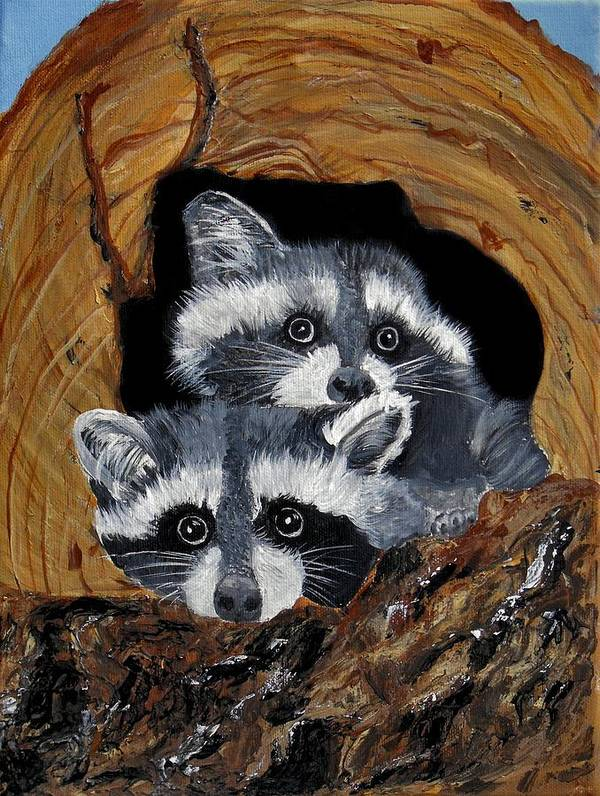 Wildlife Poster featuring the painting Baby Raccoons by Dia Spriggs
