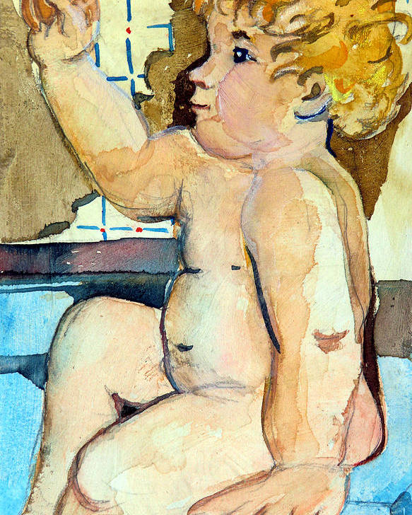 Baby Poster featuring the painting Babys Bath by Mindy Newman