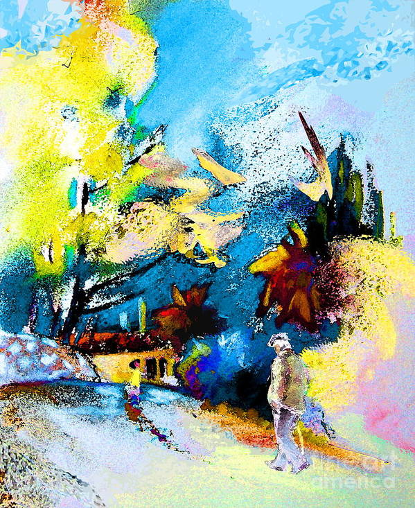 Pastel Painting Poster featuring the painting Back Home by Miki De Goodaboom