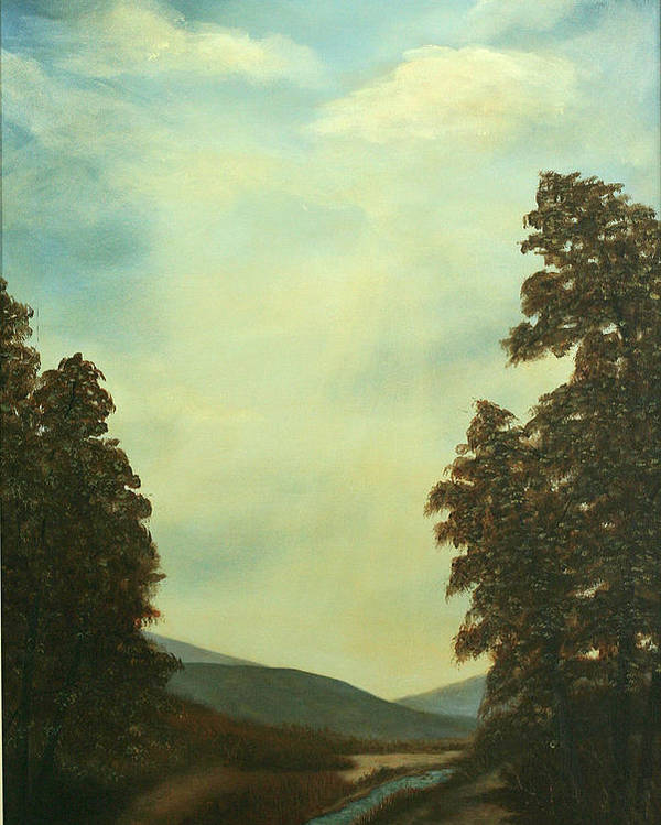 Original Pastoral Landscape Acrylic Large Constable Like Poster featuring the painting Back In Time by Sharon Steinhaus