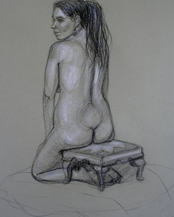 Realism Poster featuring the drawing Back Nude 1 by Donelli DiMaria