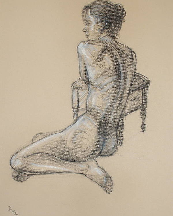 Realism Poster featuring the drawing Back Nude 2 by Donelli DiMaria