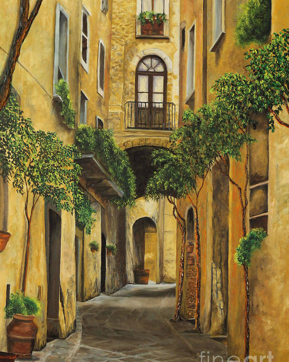 Italy Paintings Poster featuring the painting Back Street In Italy by Charlotte Blanchard