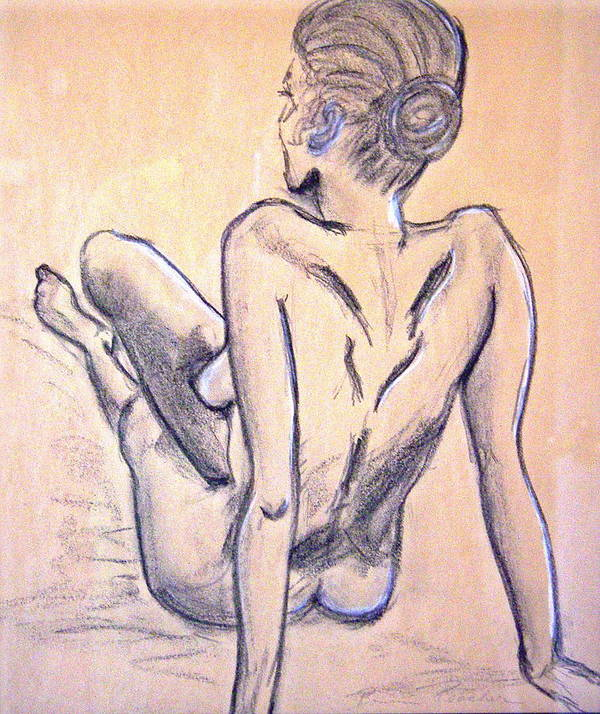 Nude Poster featuring the drawing Back View by Bonnie Peacher