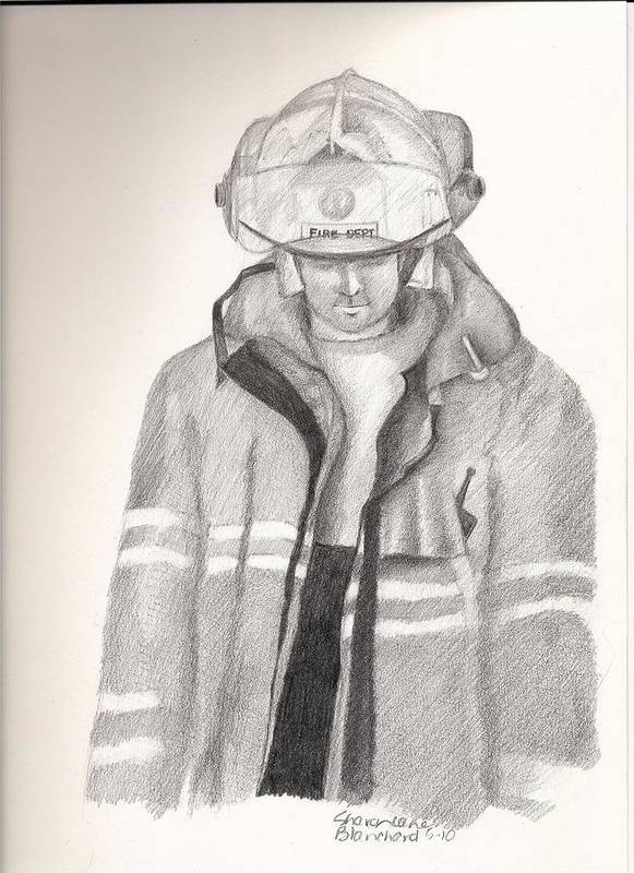 Fireman Poster featuring the drawing Backdraft by Sharon Blanchard