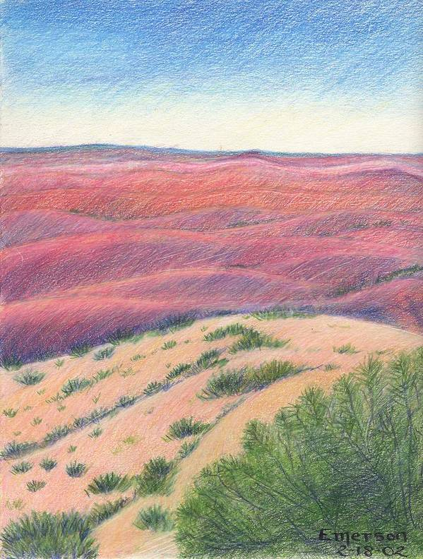 Landscape Poster featuring the drawing Badlands by Harriet Emerson