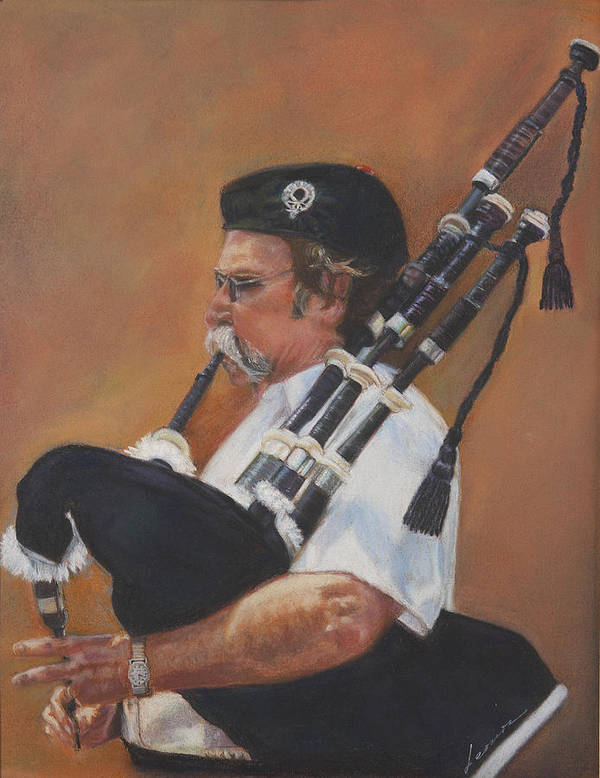Bag Pipe Poster featuring the pastel Bag Pipe by Leonor Thornton