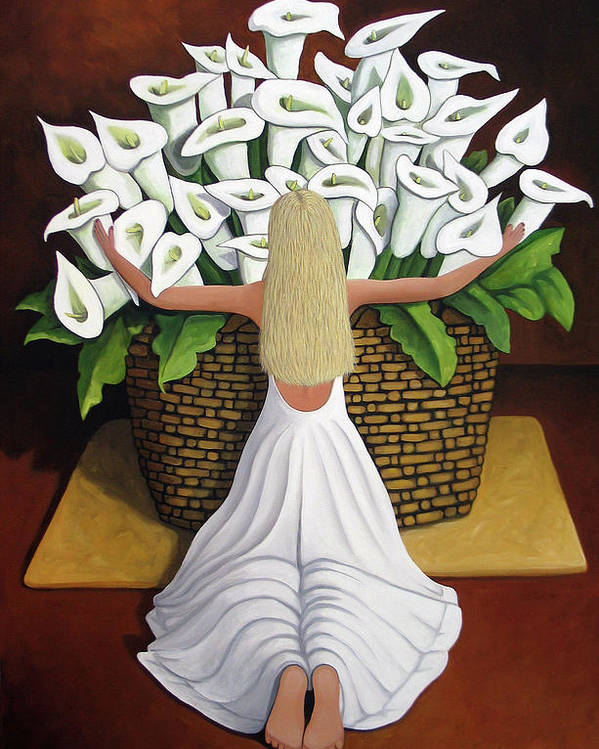 Garden Poster featuring the painting Baileyrae Lilies by Lance Headlee