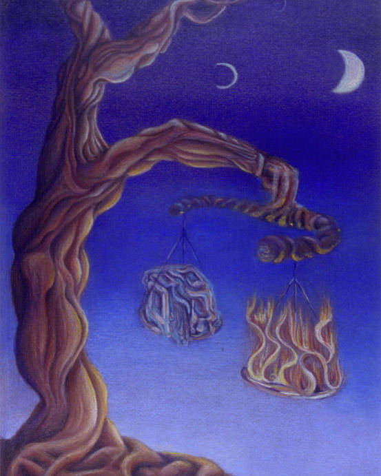 Tree Poster featuring the drawing Balance Of Fire And Water by Natalia Kadish