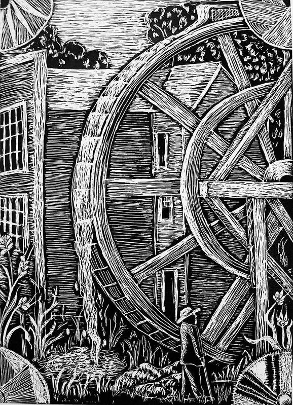 Bale Grist Mill Poster featuring the drawing Bale Grist Mill by Valera Ainsworth
