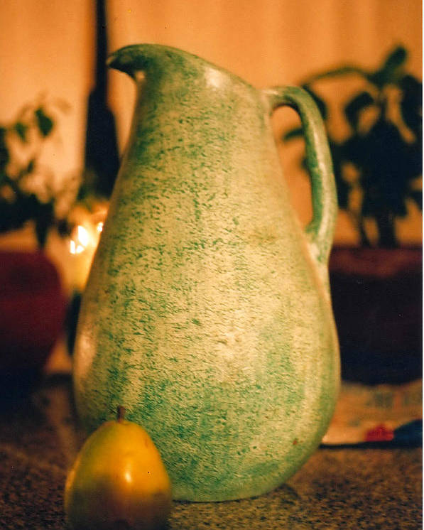 Still Life Poster featuring the photograph Bali Pitcher And Pear by Heather S Huston