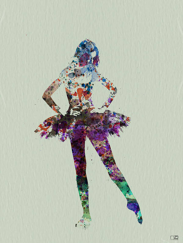 Ballerina Poster featuring the painting Ballerina Watercolor by Naxart Studio