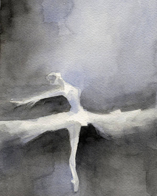 Ballet Poster featuring the painting Ballet Dancer in White Tutu Watercolor Paintings of Dance by Beverly Brown Prints