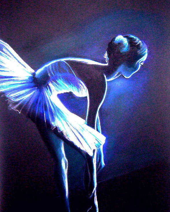 Ballet Poster featuring the drawing Ballet In Blue by L Lauter