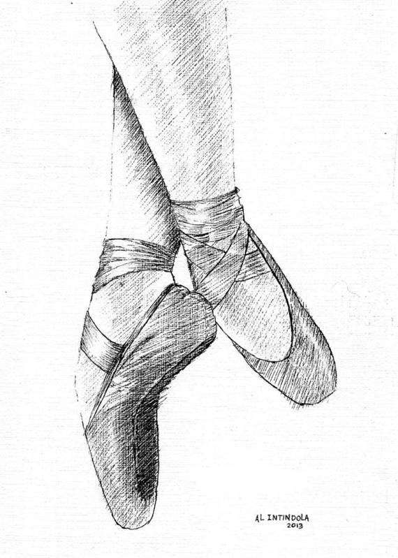 Dancers Shoes Poster featuring the drawing Ballet Shoes by Al Intindola