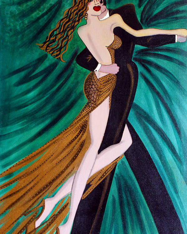 Ballroom Dancers Poster featuring the painting Ballroom Dancers Champagne Tango by Helen Gerro