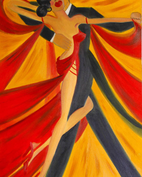 Ballroom Dancing Poster featuring the painting Ballroom Dancing Tango by Helen Gerro