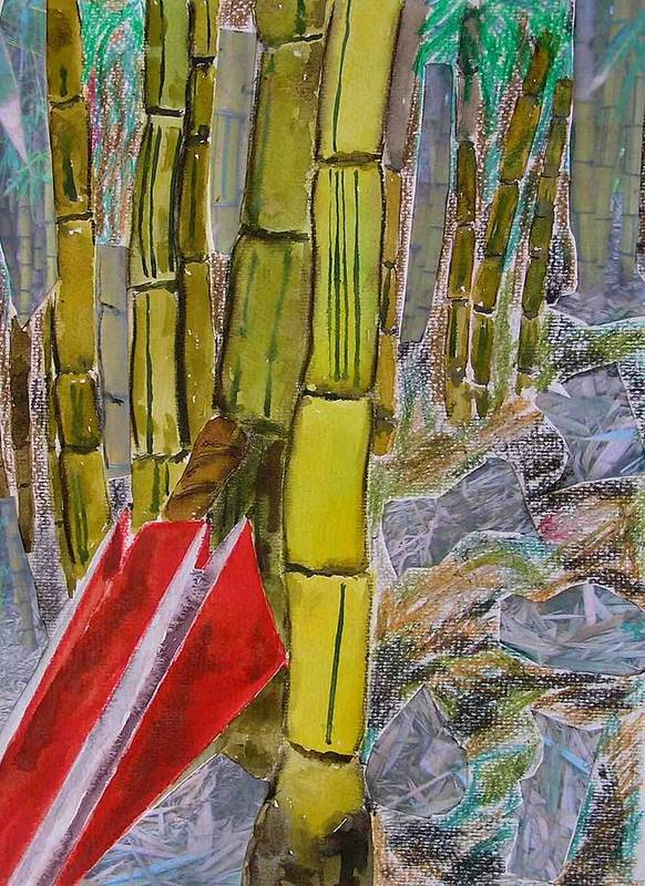 Poster featuring the painting Bamboo Forest by Evguenia Men