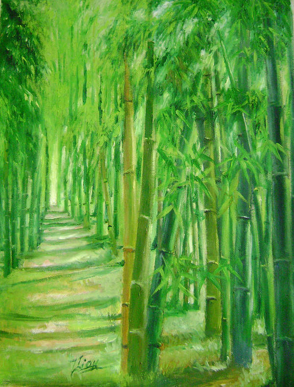 Trees Poster featuring the painting Bamboo Paths by Lian Zhen