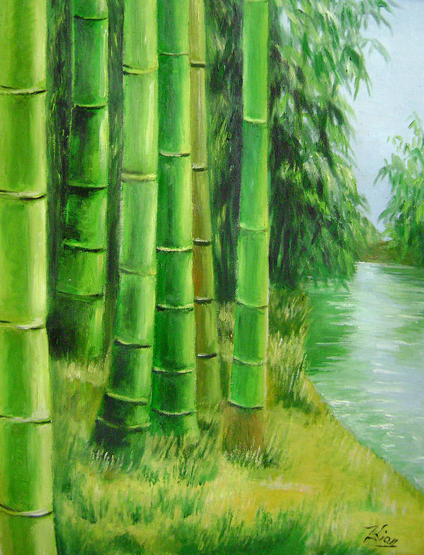 Trees Poster featuring the painting Bamboos By The River by Lian Zhen