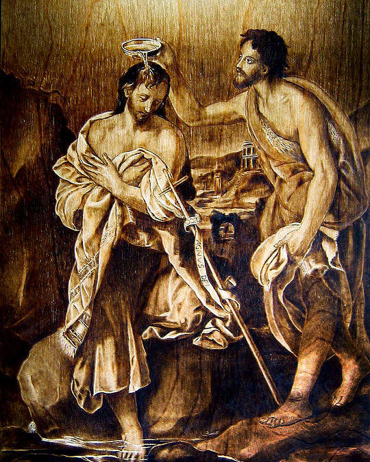 Dino Muradian Poster featuring the pyrography Baptism Of Christ by Dino Muradian