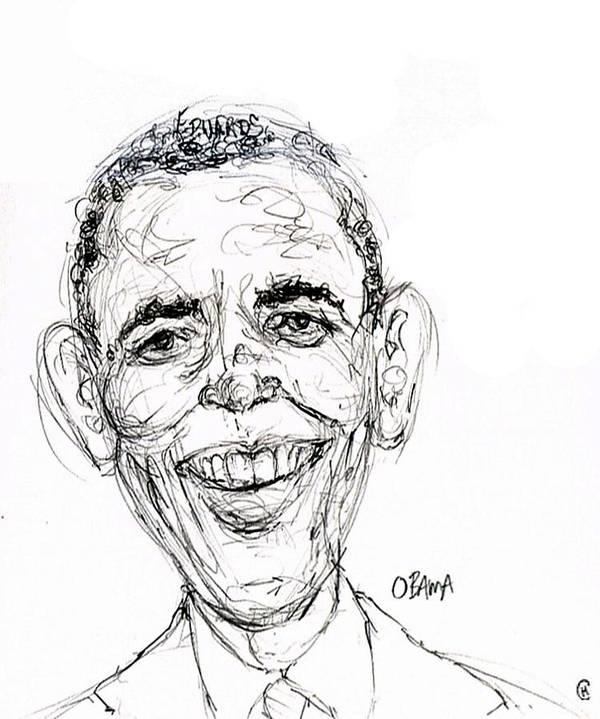 Caricature Satire Political Cartoon Politics Poster featuring the drawing Barack Obama by Cameron Hampton PSA