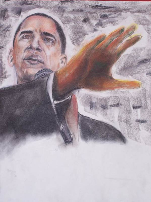 Bararck Poster featuring the painting Barack Obama by Darryl Hines