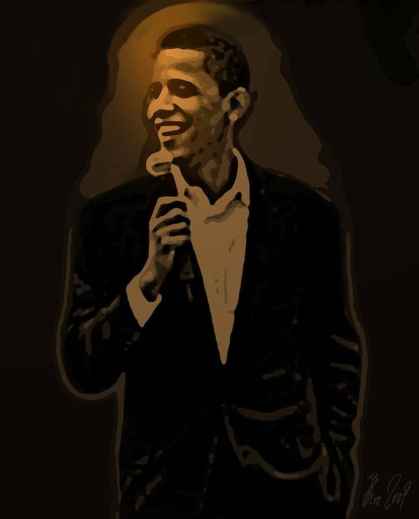 Barack Poster featuring the drawing Barack Obama by Helmut Rottler