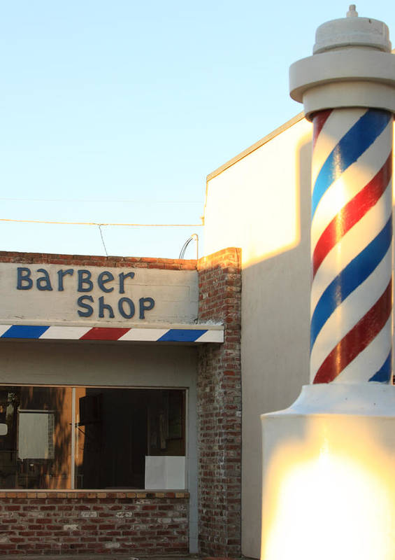 Barber Pole Poster featuring the photograph Barber Shop by Troy Montemayor