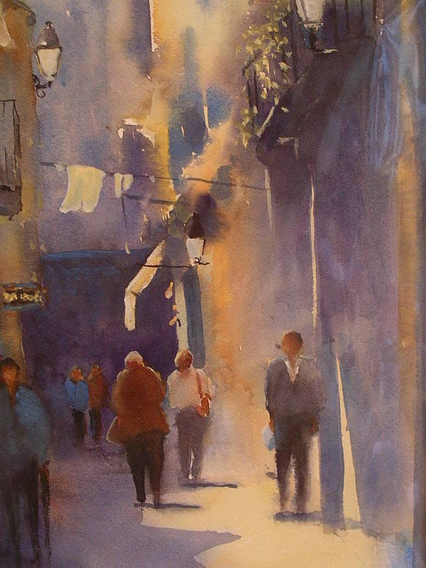 Urban /cityscape21 Poster featuring the painting Barcelona Shadows by Margaret Kent