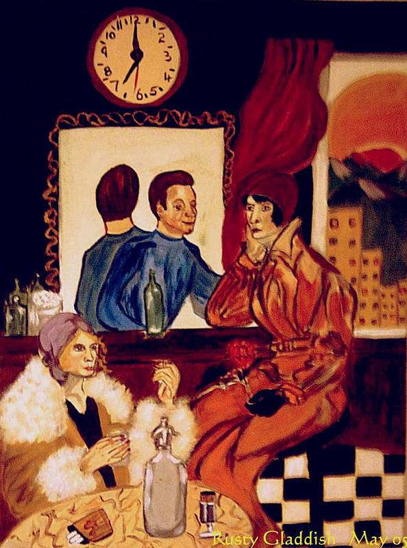 1920s Poster featuring the painting Barflies by Rusty Gladdish