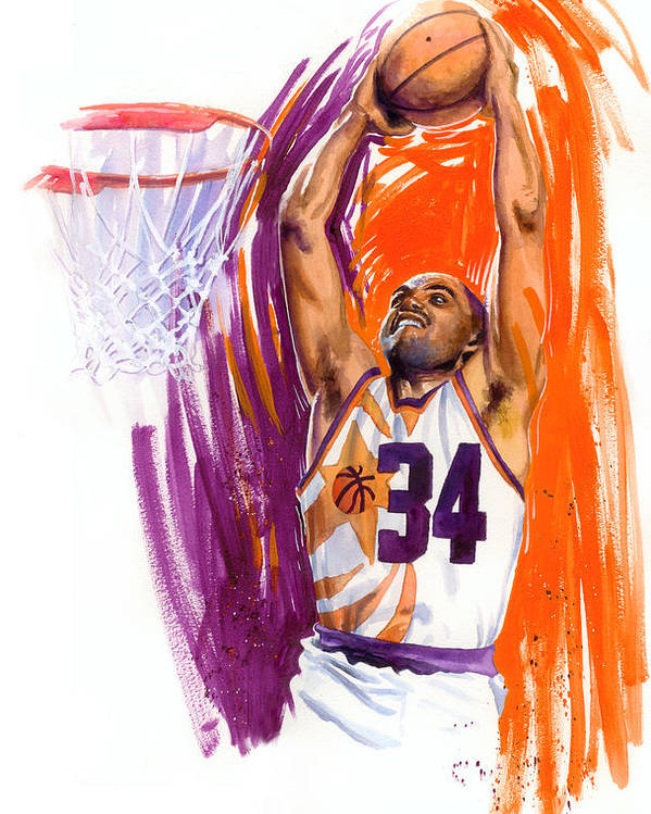 Charles Barkley Poster featuring the painting Barkley by Ken Meyer