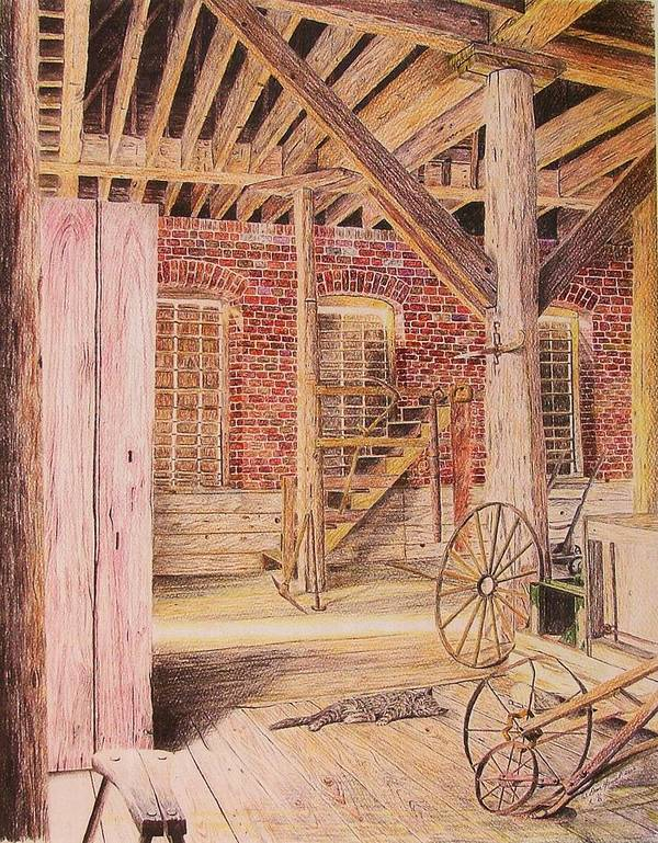 Cat Poster featuring the drawing Barn Cat by Dan Hausel