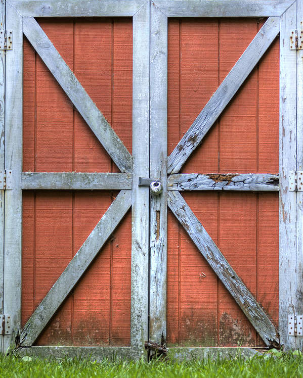 Barn Door Red Lock White Cross Dustin Ryan Charleston South Carolina Colorful Brittish Flag Poster featuring the photograph Barn Door 3 by Dustin K Ryan