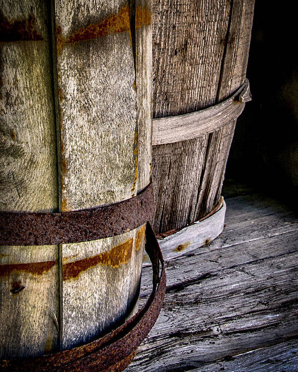 Aged Poster featuring the photograph Barrels by Karen Hanley Colbert
