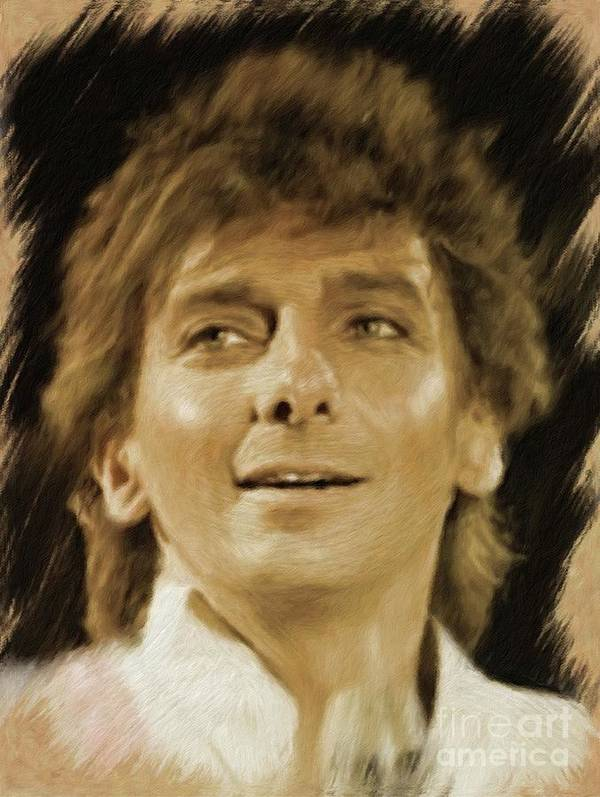 Barry Poster featuring the painting Barry Manilow, Music Legend by Mary Bassett