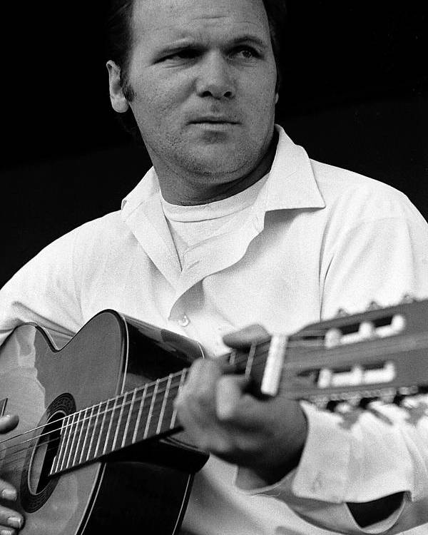 Barry Sadler With Guitar 3 Tucson Arizona 1971 Poster featuring the photograph Barry Sadler With Guitar 3 Tucson Arizona 1971 by David Lee Guss