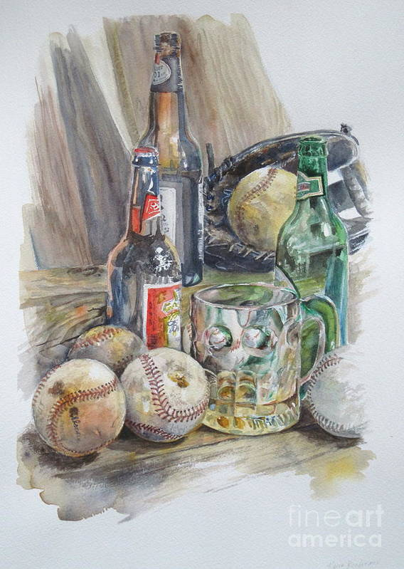 Watercolor Poster featuring the painting Baseball And Beer by Karen Boudreaux