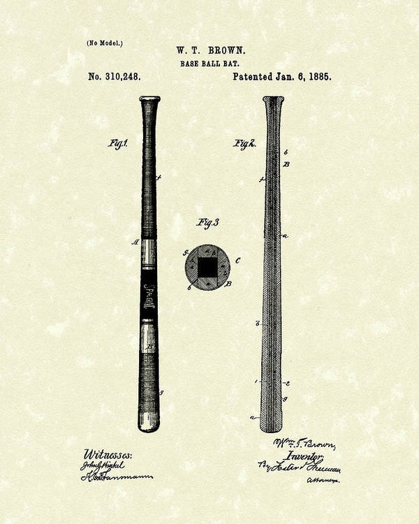 Baseball Poster featuring the drawing Baseball Bat 1885 Patent Art by Prior Art Design