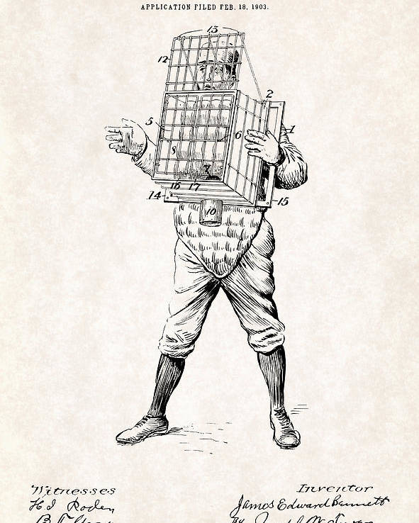 Baseball Catcher Cage Patent Drawing For The 1904 James Edward