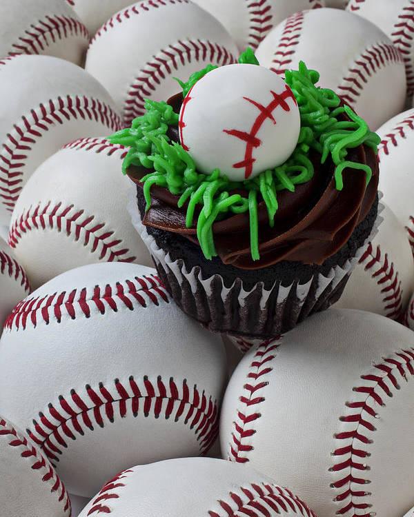 Baseball Poster featuring the photograph Baseball Cupcake by Garry Gay