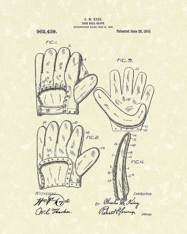 Starke Poster featuring the drawing Baseball Glove 1910 Patent Art by Prior Art Design