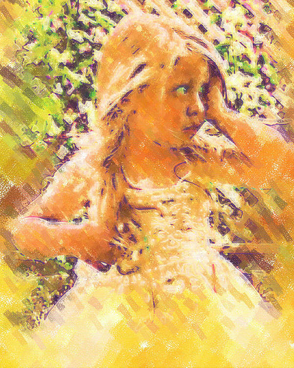 Child Poster featuring the digital art Bashful by Holly Ethan
