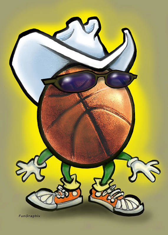Basketball Poster featuring the digital art Basketball Cowboy by Kevin Middleton