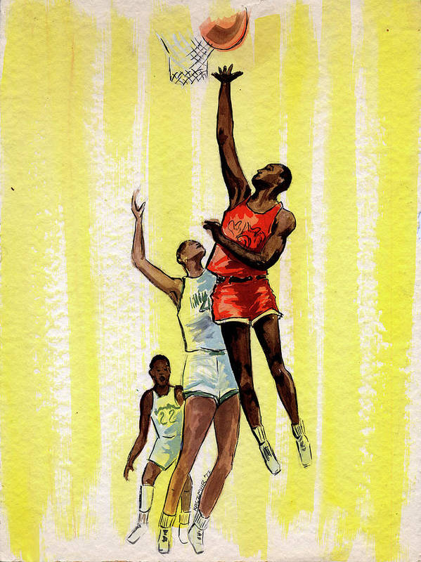 Basketball Players Poster featuring the painting Basketball by Olga Kaczmar
