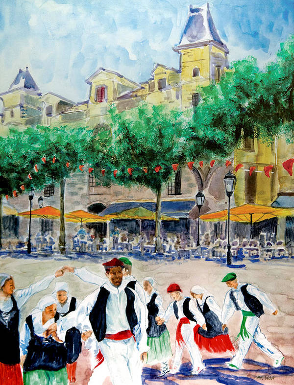 Basque Poster featuring the painting Basque Country Dancing by Aymeric NOA