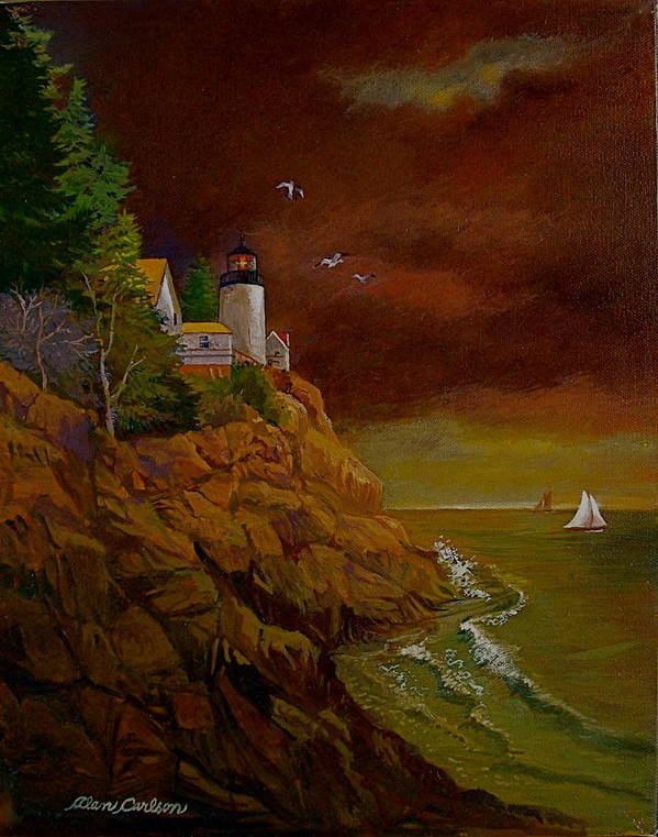 Light House Poster featuring the painting Bass Harbor Light Mt Desert Maine by Alan Carlson